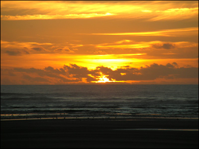 sunset on beach. Oregon each sunset